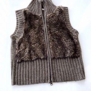 CAbi L Large Fur #167 Alpaca Wool Zip Front Vest